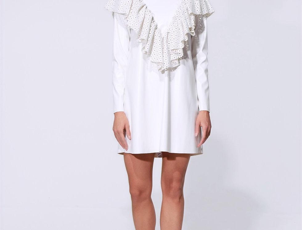 Платье кожаное белое