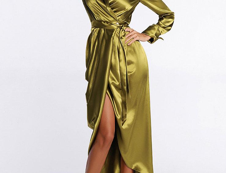 Платье атласное, цвет горчичный