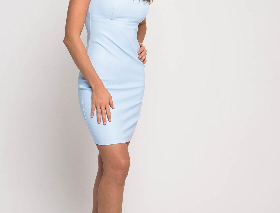 Платье бюстье из эко-кожи, цвет голубой
