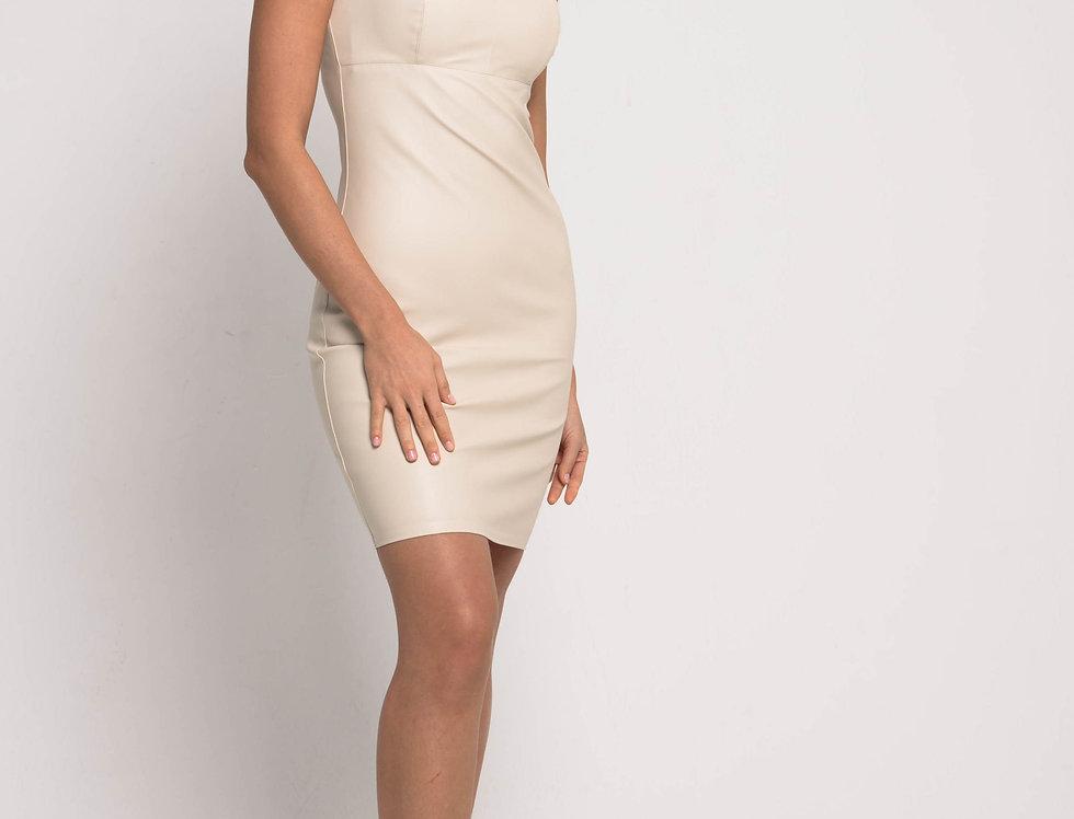 Платье бюстье из эко-кожи, цвет бежевый