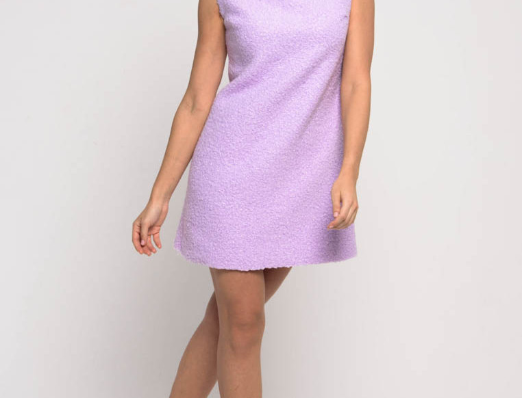 Платье из мягкого букле, цвет сиреневый