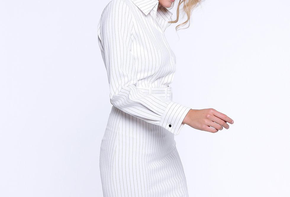Платье-футляр с разрезом, белый