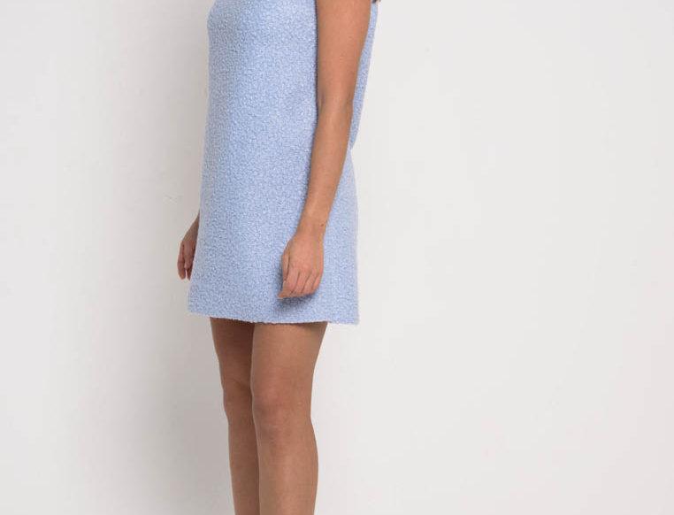 Платье из мягкого букле, цвет голубой пастель»