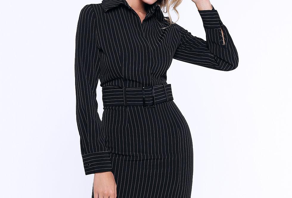 Платье-футляр с разрезом, черный