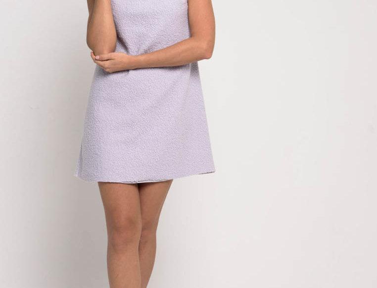 Платье из мягкого букле, цвет сиреневый пастель