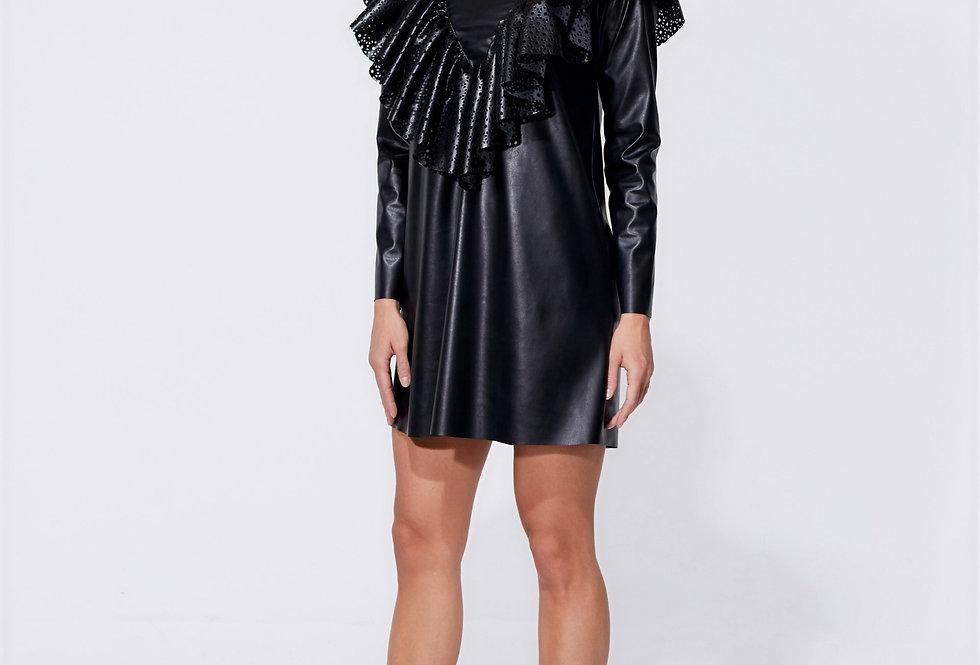 Платье кожаное черное
