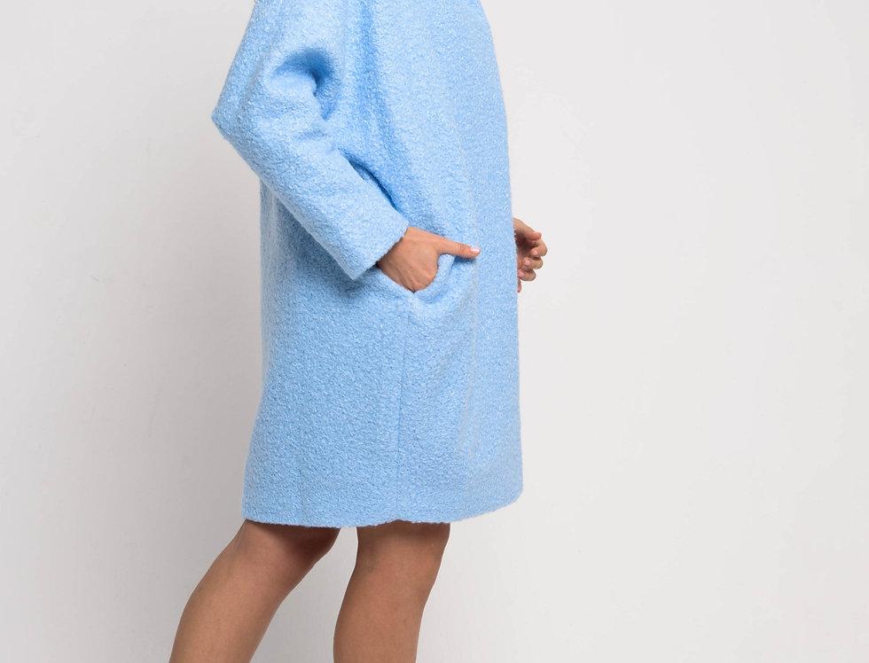 Пальто оверсайз, цвет голубой яркий
