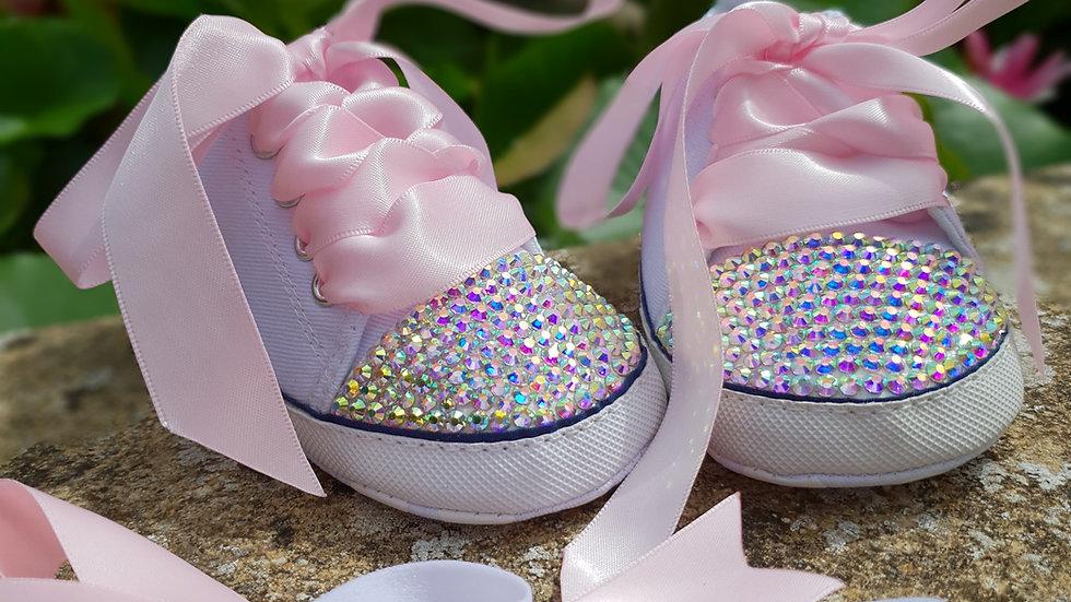 Bellablott - Sparkling Rhinestone Toe Tipped - Pink Bow Shoe & Headband Set