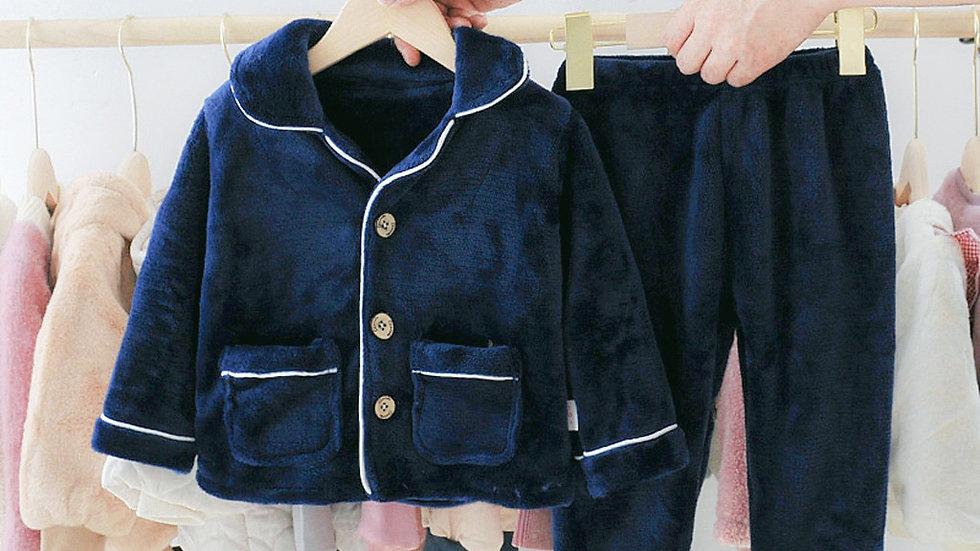 Toddler Kid Baby Girls Boys Solid Plush Pocket Pyjamas