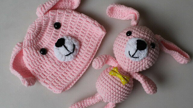 Newborn Baby Boys Girls Animal Knit Hat+Doll Toy 2