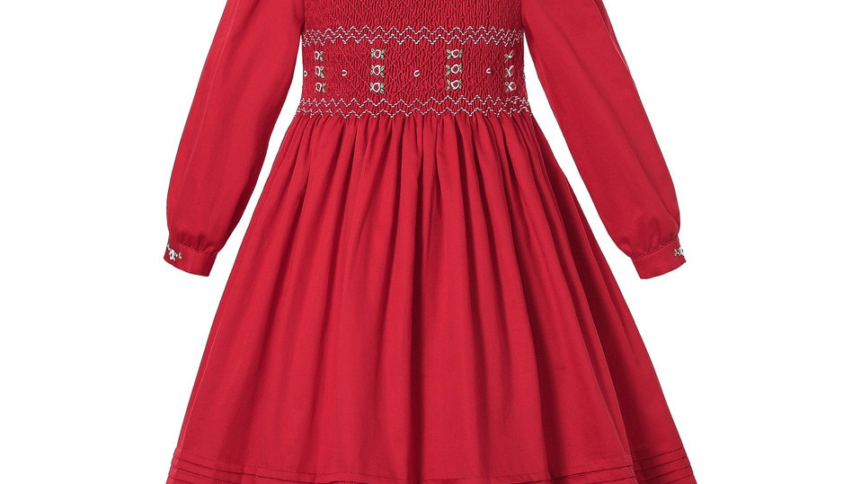 Dress With Embroidery Smocked Christmas Dress Red