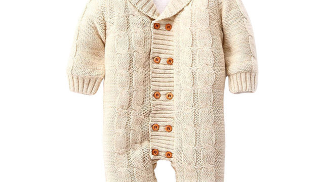 Newborns Baby Button Rompers wool Knitted cozy