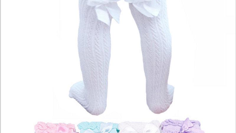 Newborn Infant Baby Girl Knee Stocking Cotton bow