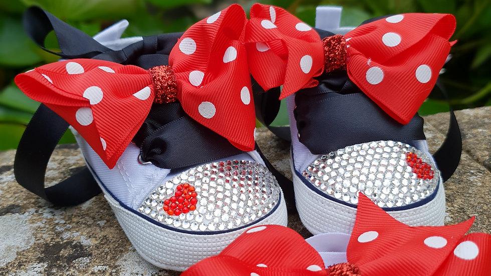 Bellablott - Sparkling Minnie Toe Tipped - Rhinestone  Shoe & Headband Set