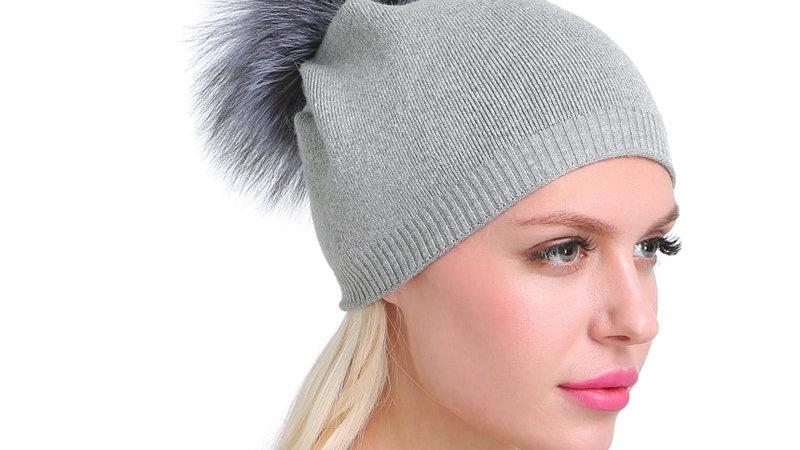 Women Winter Hat Wool Knitted Hat - Fur Pompom Hat