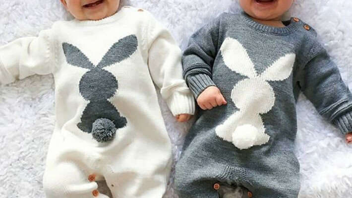 0 24M Newborn Baby Boy Girl Rompers Bunny Knitted