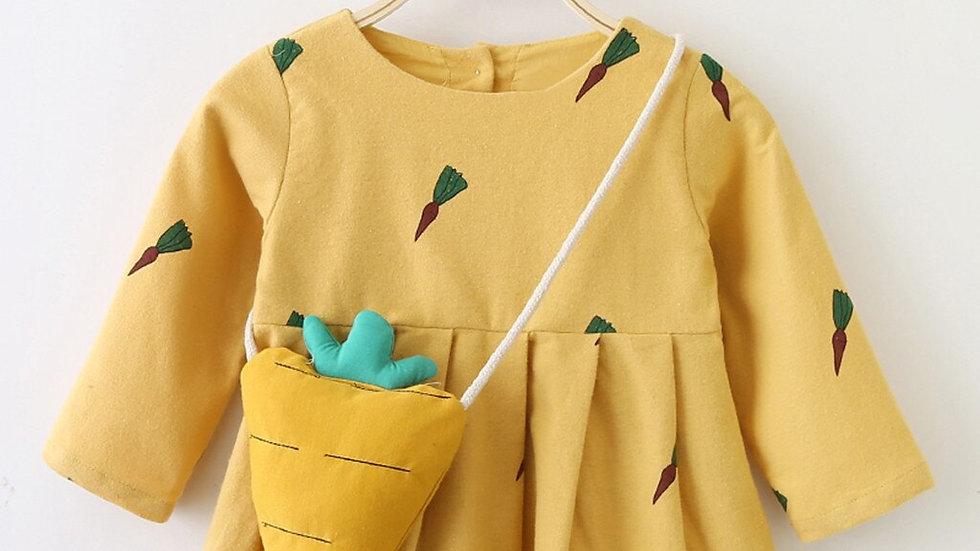 Longsleeve Carrot Print Dress, Little Girls Dress &  Matching Bag