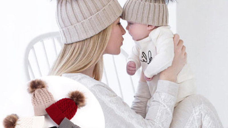 2PCS/set Mom Mother+Baby Knit Pom Bobble Hat