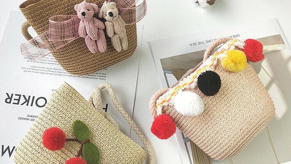 2020 Childrens straw bag Teddybear/pompoms