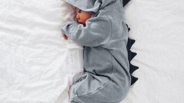 Dinosaur Hooded Baby Onesie