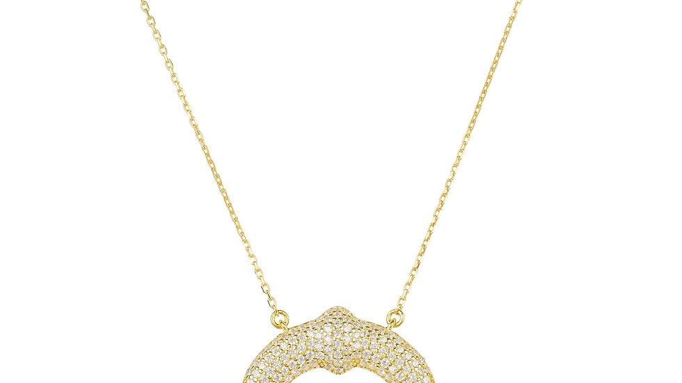 Tusk Sparkling Horn Pendant Necklace Gold