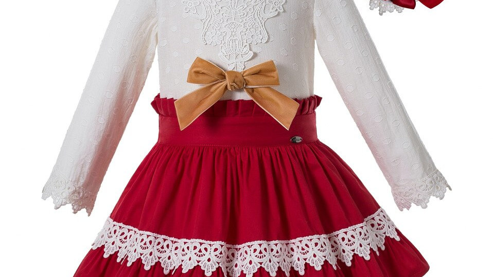 Red Party  Girl  Set  - Lace Collar Velvet Bow Outfit - With Headwear