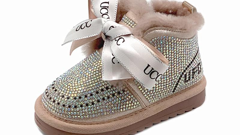 2020 New Winter Girls Boots Rhinestone Princess Warm Baby/ Toddler