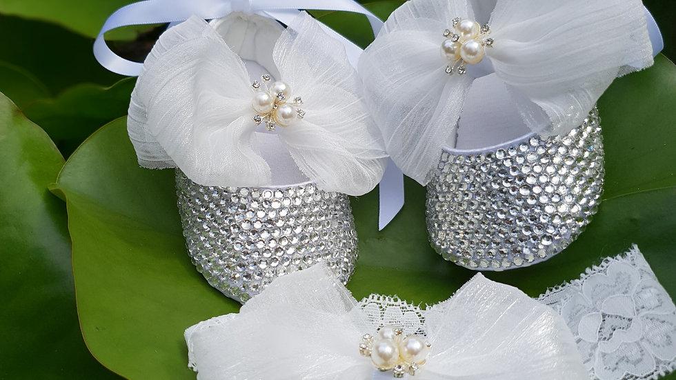 Bellablott - White Bow Celebration -Pearl Rhinestone Shoe & Headband  Gift Set