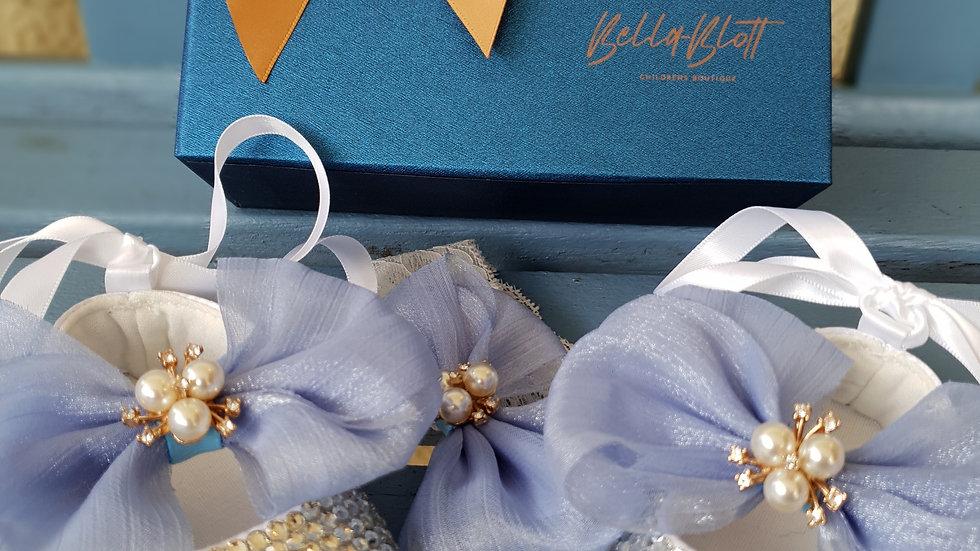 Bellablott  Cornflower Blue Rhinestone Pearl Bow Shoe & Headband  Gift Set