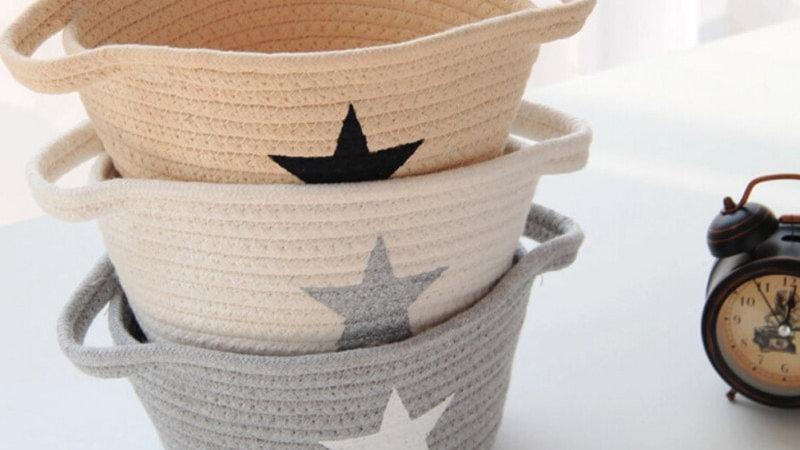 Foldable Cotton Basket Grey , natural , white