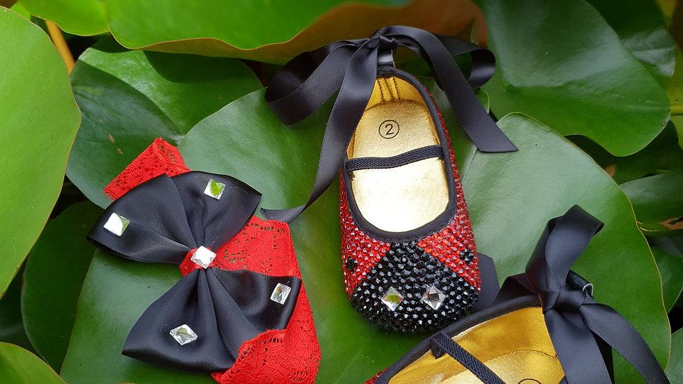 Bellablott - Ladybug Rhinestone Sparkling Shoes & Headband Gift  Set