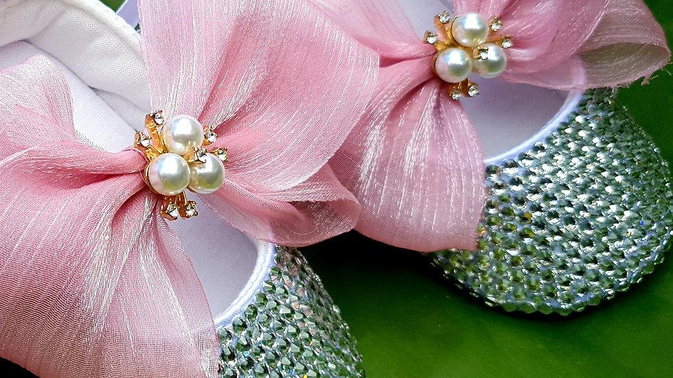 Bellablott- Pink Pearl Rhinestone Bow Shoe & Headband Gift Set