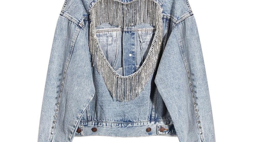 New 2021 Tassel Diamond Denim Jacket - Womens