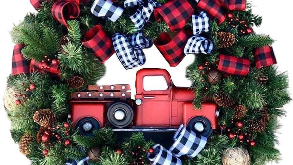 Creative Christmas Door Wreath Christmas Red Truck