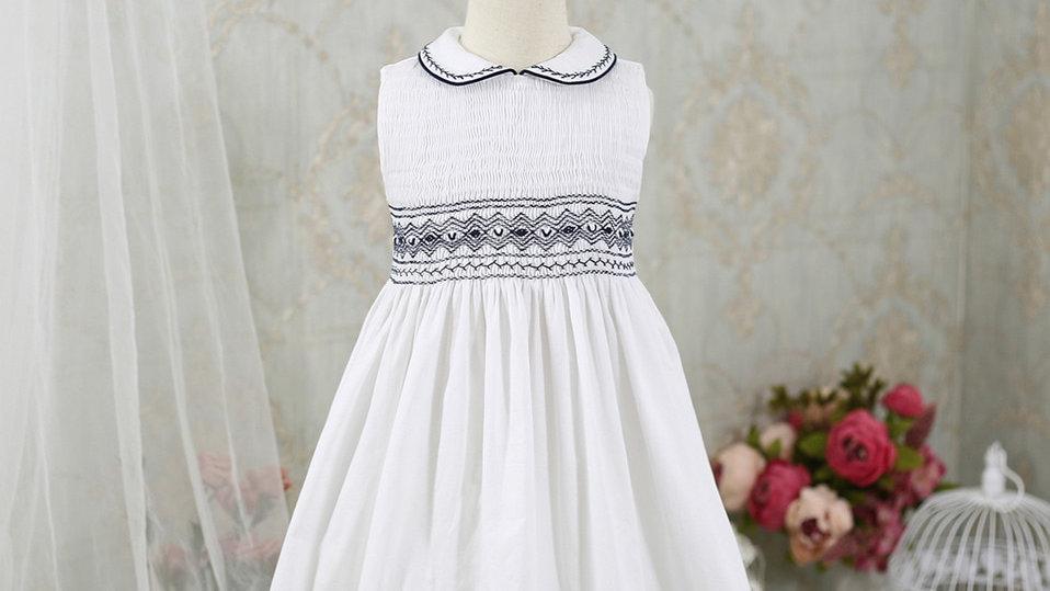 Smocked Sleeveless -  Girls White Dress