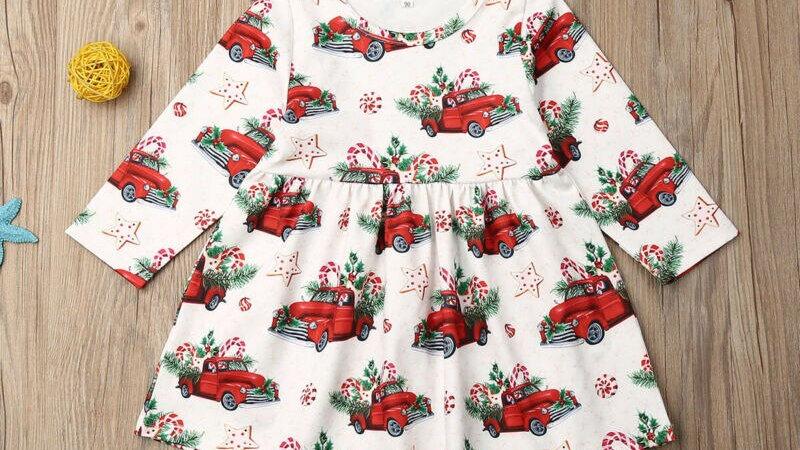 Newborn Baby Girl Christmas Dress Clothes Cartoon