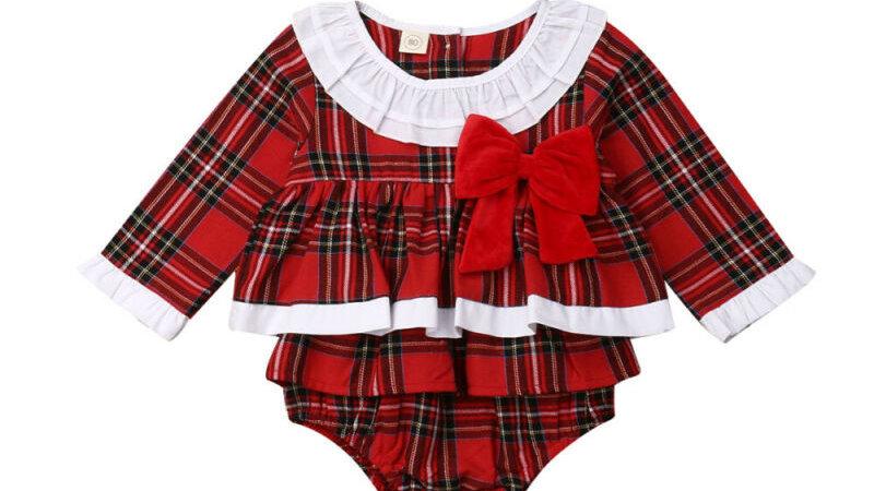 Princess Baby Girl Christmas Clothes Ruffle tartan xmas eve day dress
