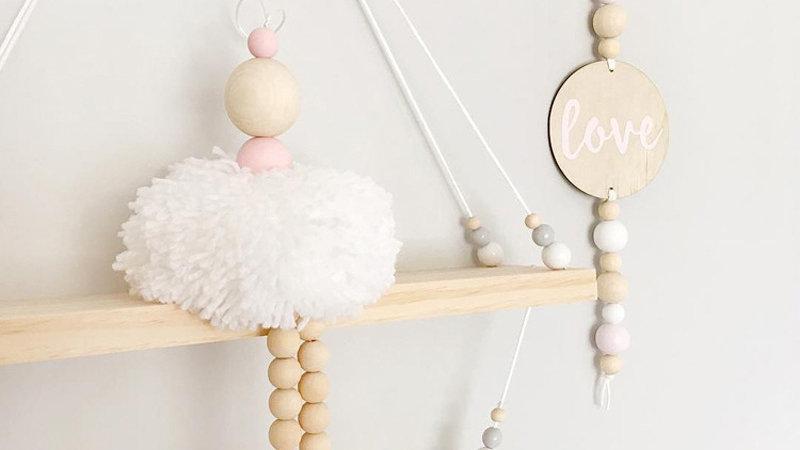 Nordic Style Ballet Dancer Hanging Decoration Wooden Beads Girl Room