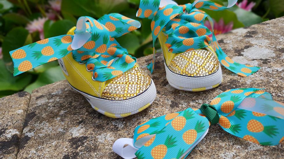 Bellablott -Pineapple Rhinestone  Toe Tipped- Shoes & Headband Set
