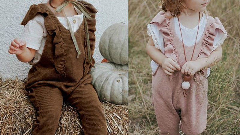 Baby Girl Ruffle Knitted Ruffles Romper jumpsuit  Kid Overalls Long