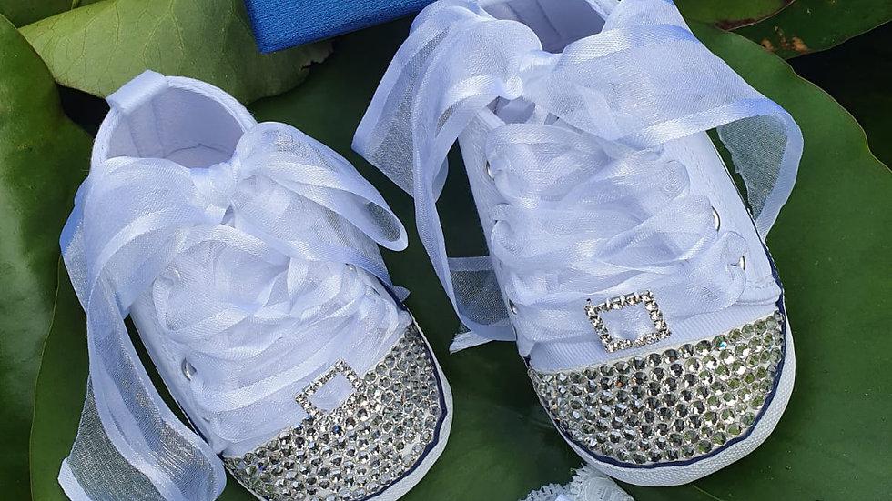 Bellablott - White Sparkling Rhinestone Ribbon Shoe & Headband Set