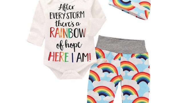 Costume For Newborns Infant Baby Girls Boys Letter Rainbow