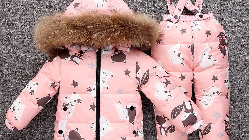 Toddler girls/boys  Clothes Winter Faux Fur Hooded Parka