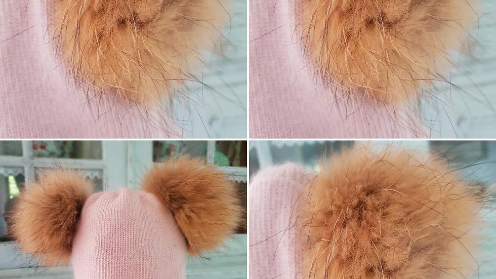 Baby /Toddler - Angora Wool-  Real Fur Bobble Hat