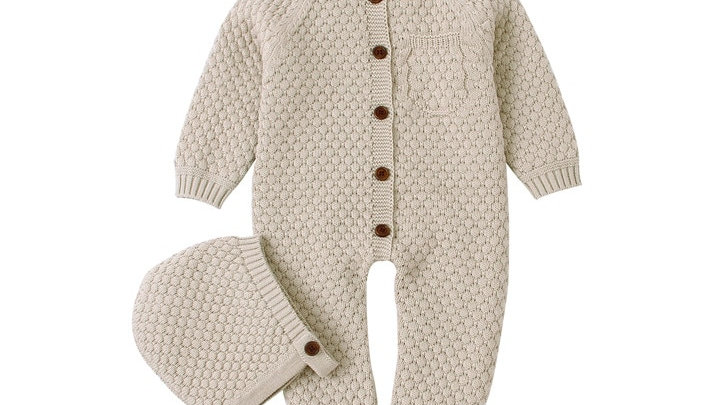 Winter Infant Baby Girls Boys Warm Rompers Hats