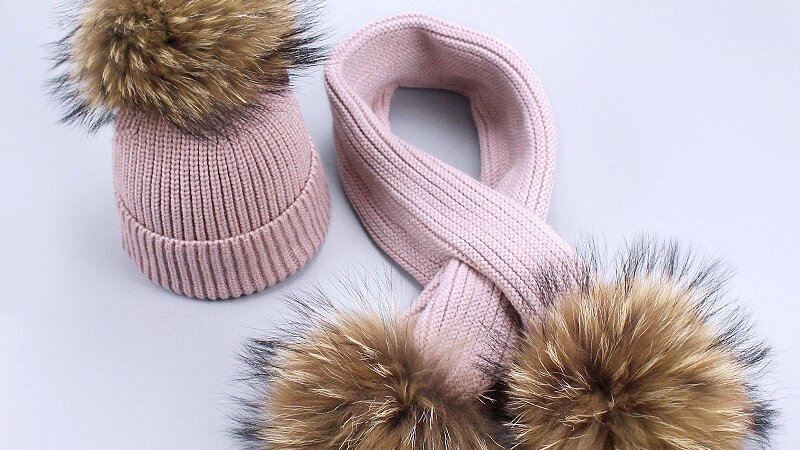 Childrens  Knitted Scarf & Hat Set Luxury Real Fur Pom Poms