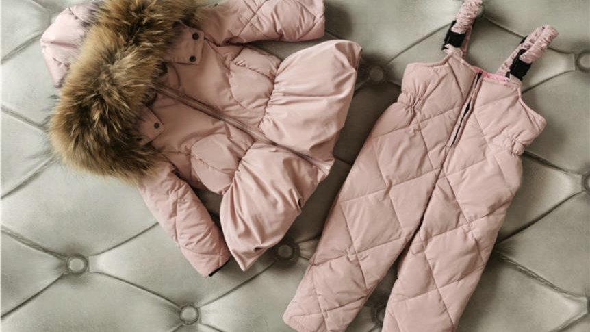 Winter New Fur Collar Down Set -  Coats + Pants 2pcs Suits