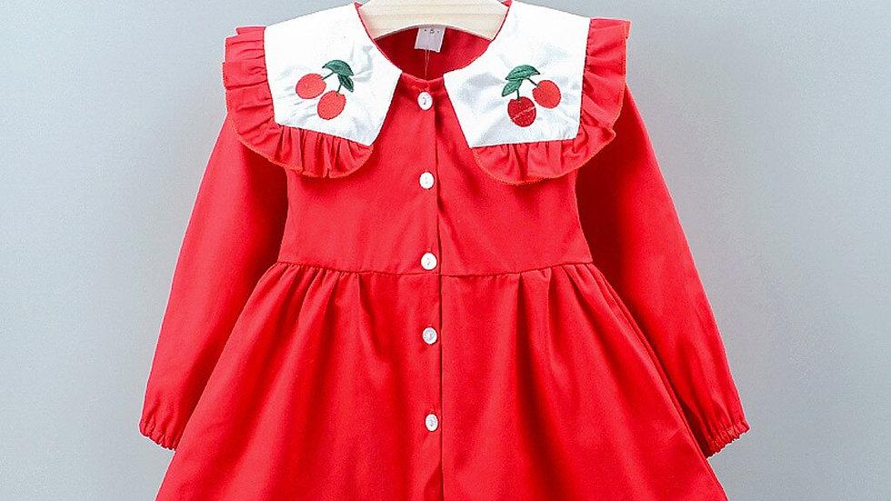 Girls Dress Kid Baby Girl Fruits Cherry Printed