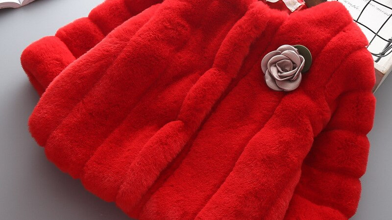 Girls Christmas Faux Fur Coat