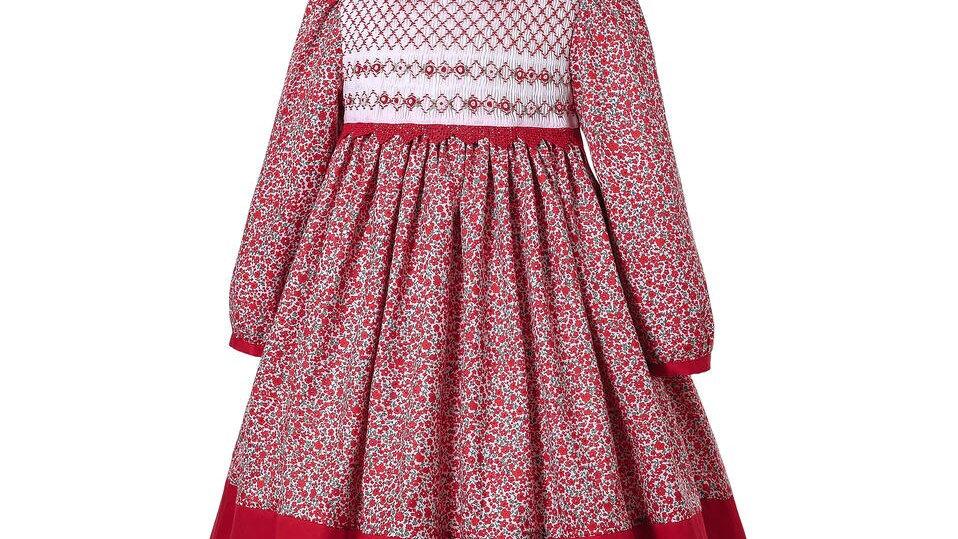 Red Dress Smocking  Flower Printed Dress
